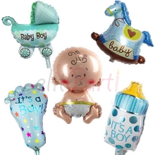 Baby Shower Mavi Folyo Balon (5\'li Set)
