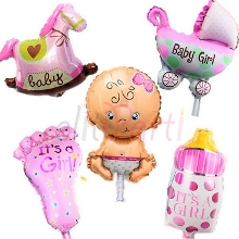 Baby Shower Pembe Folyo Balon (5\'li Set)